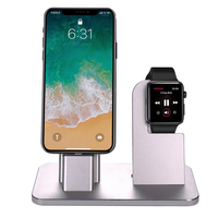 2 In 1 Aluminium Holder Detachable Desktop Charging Stand Bracket For Apple Watch For iPhone Cell Phone Tablet New Sale