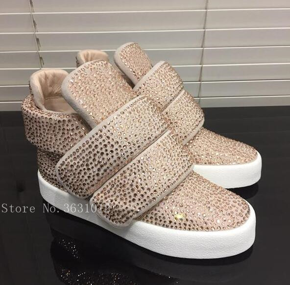 Hot Quality Doppio Strap High Top Trainers Women Snikers Crystal Women Shoes Platform Shoes Woman Autumn Cage Boots Mujer