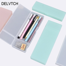 DELVTCH Cute Kawaii Transparent PP Plastic Pencil Case Lovely Pen Box For Kids Gift Office School Supplies Materials cute kawaii transparent pp plastic triangle pencil case lovely pen box for kids gift office school supplies materials