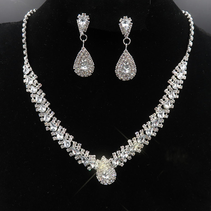Luxury Bridal Jewelry Sets Silver 925 with Crystals Rhinestones Necklace Stud Earrings for bride Bridesmaids Evening 80s Party(China)