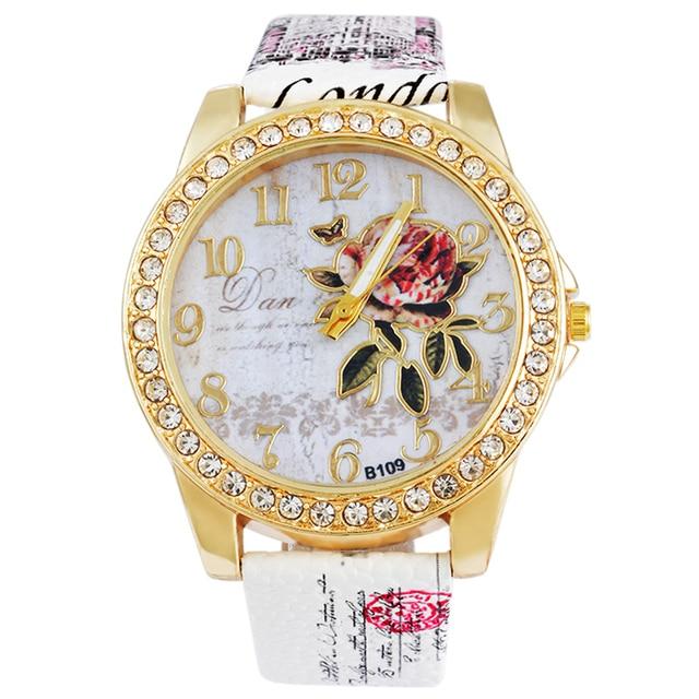Women Watches Flower Rhinestone Luxury Lady Wristwatches Leather Fashion Causal
