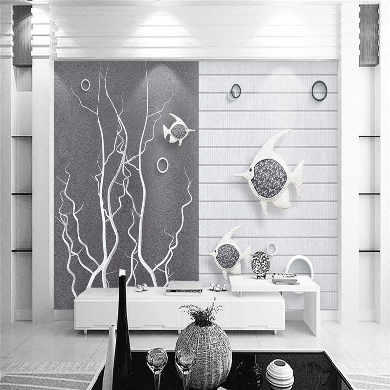custom non-woven 3d mural wallpaper black and white creative underwater goldfish bubble 3d TV background wall for kid's room free shipping hepburn classic black and white photographs women s clothing store cafe background mural non woven wallpaper
