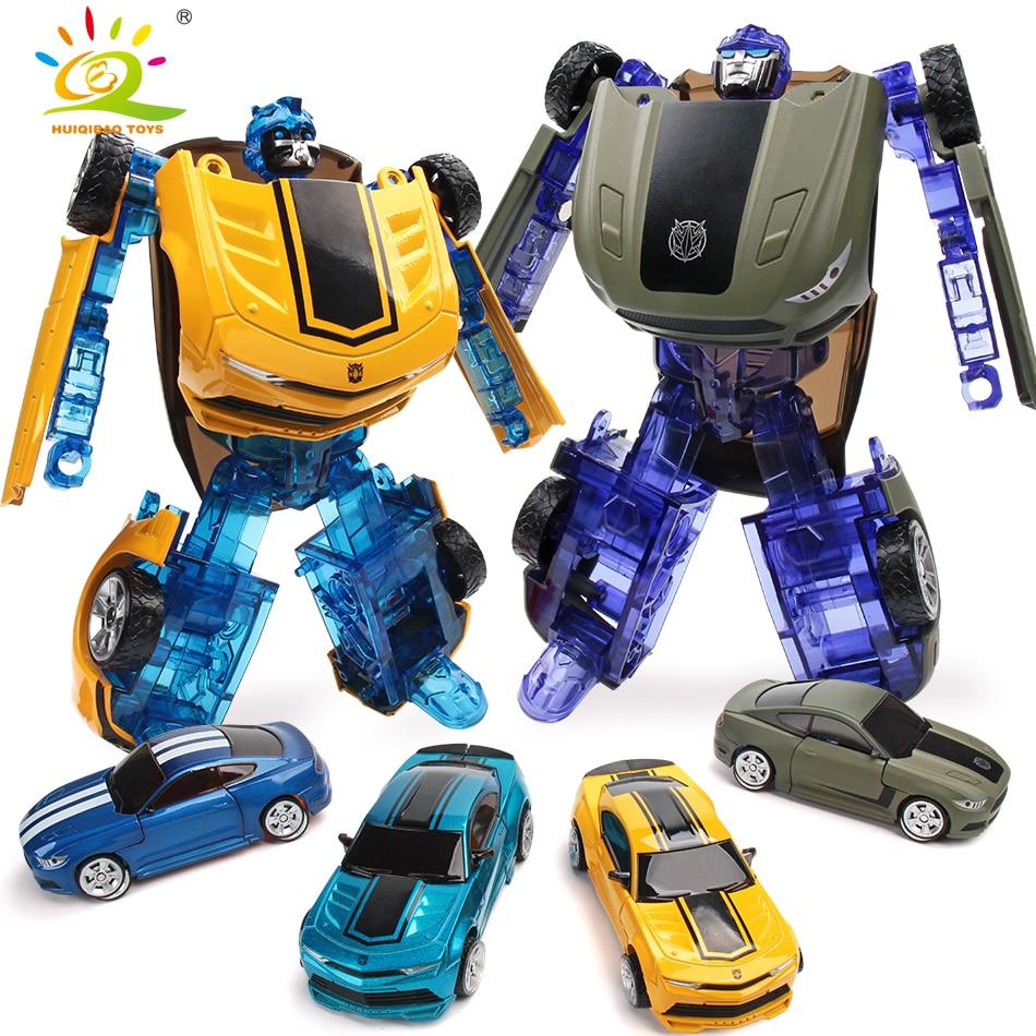 HUIQIBAO JOUETS 16 cm Métal Transformation Voiture Déformation Robot jouets Figurines D'action Educationsl Classique Jouets pour Enfants 4 Couleur
