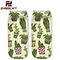 ZHBSLWT  Harajuku Style 3D Printed  Women Socks  Low Cut Ankle Socks Cactus In Pot Colour Women's Casual Brand Socks -20R