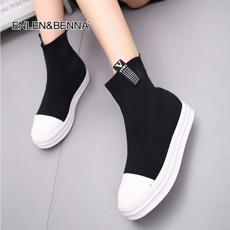2017 Women Boots Stretch fabrics Elastic boots Autumn winter snow women boots fashion low-heeled Knitted Solid Sock Shoes boots