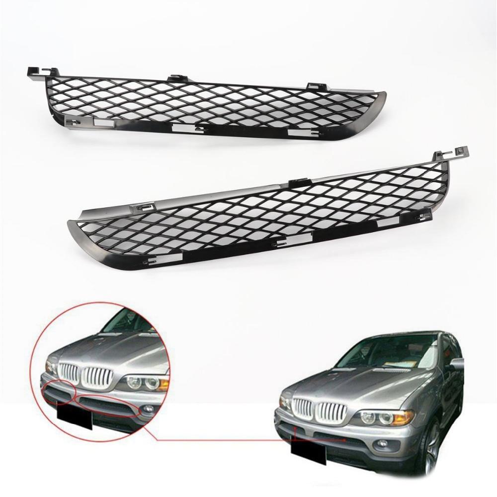 TAIHONGYU Пара Черная сетка передний верхний бампер решетки для BMW X5 E53 LCI 2003 2006 подтяжка лица
