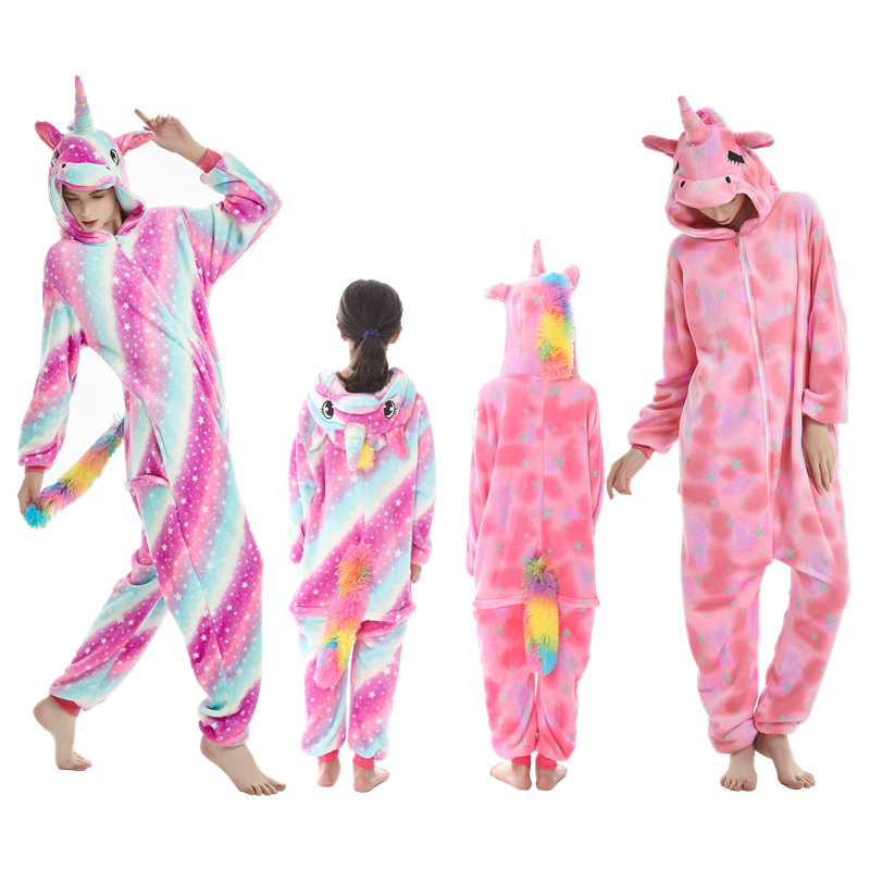 2018 Pajamas Party Unicorn Jumpsuit Cosplay Costume Animal Onesies Warm Sleepwear  Mommy and Me Clothes Family Matching Clothes-in Matching Family Outfits ... 1e1d72f7e