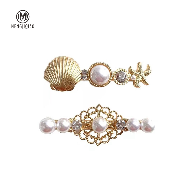 MENGJIQIAO Korean New Elegant Pearl Hairgrips Shell Crystal Hairpins For Women Clips Barrettes Holiday Jewelry Hair Accessories