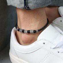 791d6fe2dbb4 Para Mujer para hombre cuero cuerda tobillera pulsera de tobillo sandalia  descalzo playa pie cadena