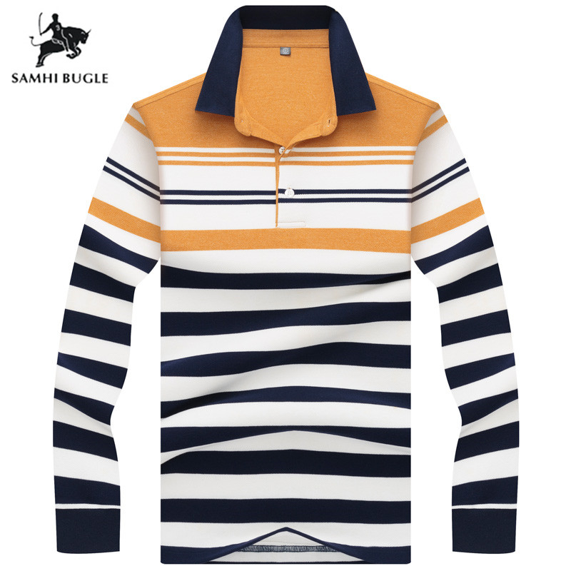High Quality Business Casual   Polo   Shirt Men Striped Lapel Fashion   Polo   Shirt Long sleeve 2019 New Striped   polo   for men