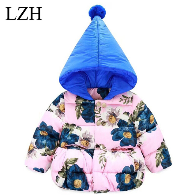 LZH Cute Printing Girls Jacket Kids Warm Outerwear Thicken Cotton Coat Baby Girl Winter Coat Boys Hooded Jacket Children Clothes