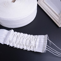 50M/lot White 4 Gathering Cords Curtain Pull Pleated Tape Ribbon Curtain Accessories Strap Hanging Curtain Tape Encryption