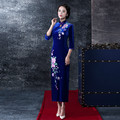 Longer Elegant Sapphire Velvet Embroidered Cheongsam Dress 3/4 Long Sleeve Retro Dress With Plus 3XL
