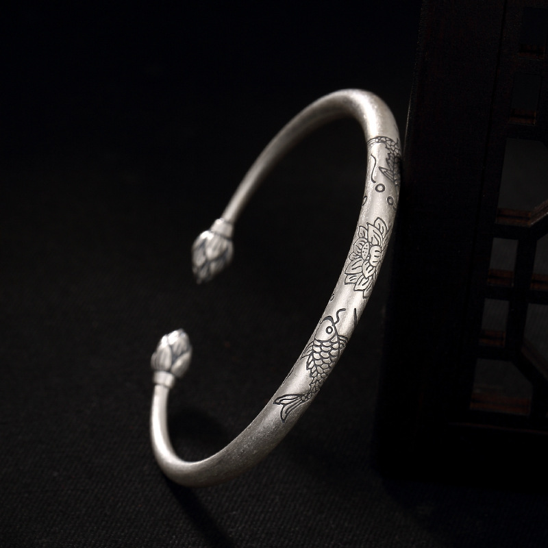 Retro Elegance Women Bracelet Bangle Real 990 Sterling Silver Lotus&Fish Handmade Cuff Bracelets Anniversary Gift magic fish bracelets
