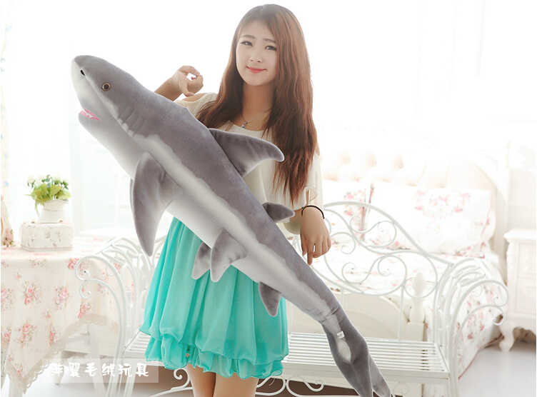 Duży rozmiar pluszowe shark zabawki symulacja nadziewane szary rekin lalka na prezent urodzinowy około 140 cm