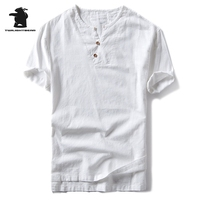 Summer Men S Imitation Linen T Shirts Designer Fashion Solid Short Sleeve Thin Casual Cotton Shirt