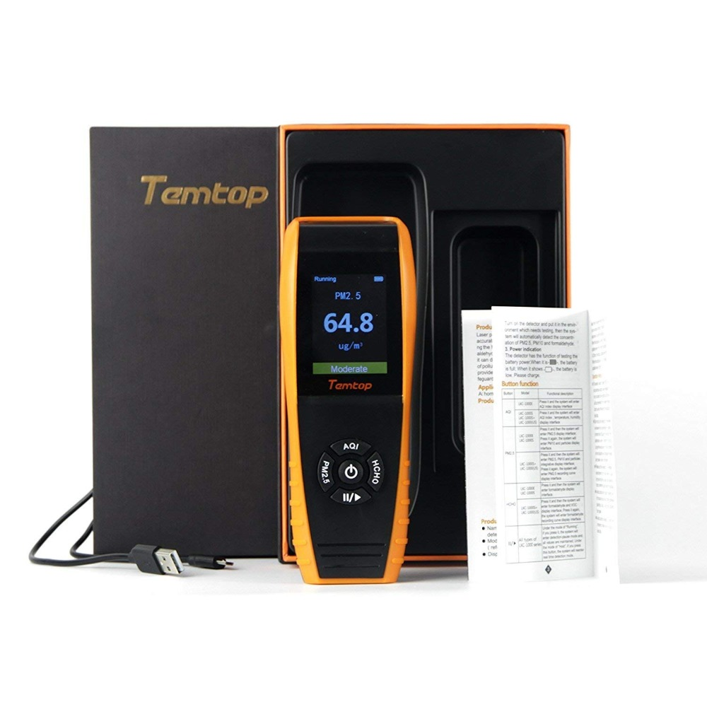 Temtop LKC-1000E Air Qualité Détecteur Moniteur Professionnel avec PM2.5/PM10 Des Tests Précis