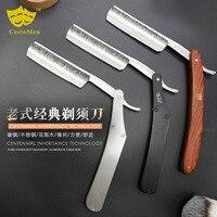 1PC Stainless Steel Razor Vintage Retro Manual Razor Shaving Knife Haircut Double Razor G0417