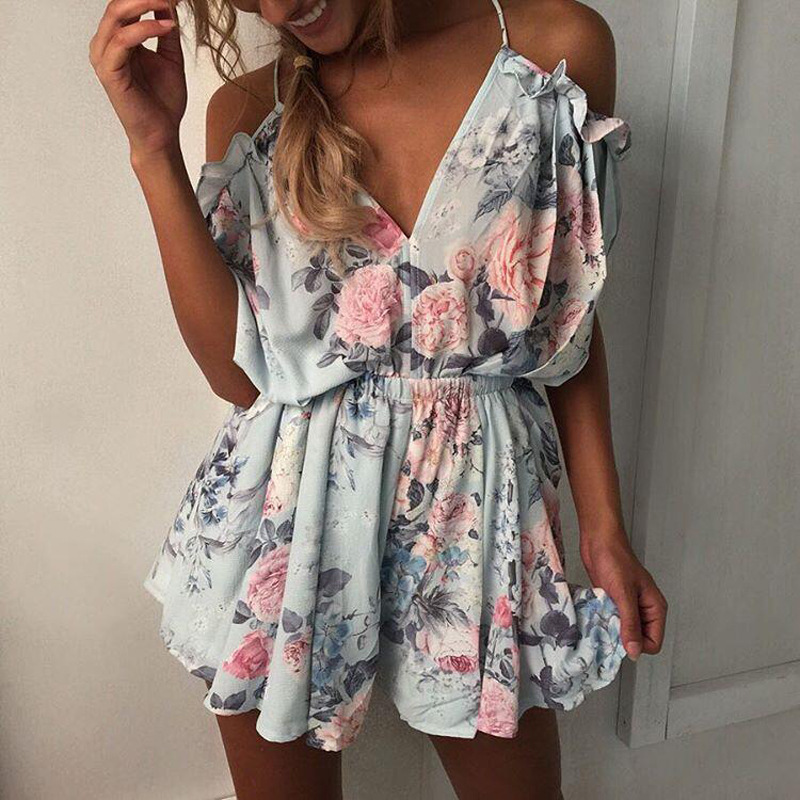 Young Sexy Women Playsuits Rompers Bohemian Floral Print Plunge Spaghetti Strap Rompers Jumpsuits Summer Women Beach Playsuits
