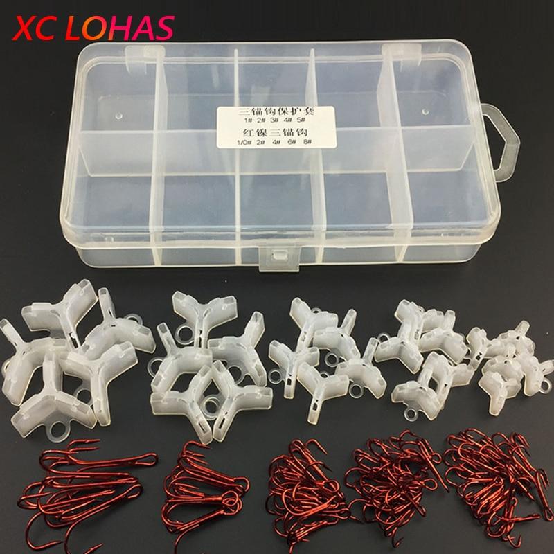 55 kpl / laatikko Punainen kolmionmuotoinen kalastuskoukku + 25kpl / - Kalastus - Valokuva 1