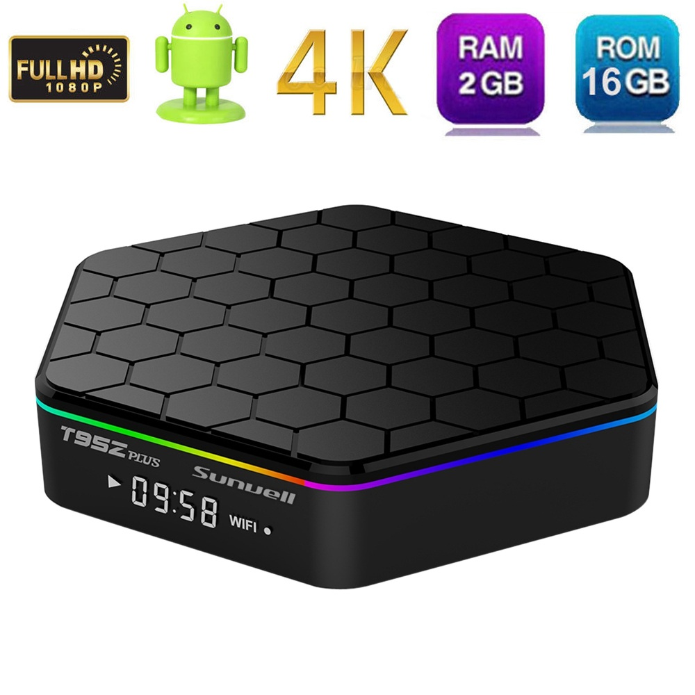 Sunvell T95Z PLUS Android TV Box 2GB RAM 16GB S912 Octa Core Smart TV Box Android 6.0 Kodi 2.4G/5GHz Wifi Bluetooth IPTV Bo