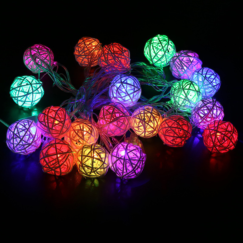 Led 2m 20leds Xmas Holiday Christmas Light 2M Fairy Rattan Ball String Lamp White Warm Colorful Decoration for Xmas New Year Wedding festival Party (38)