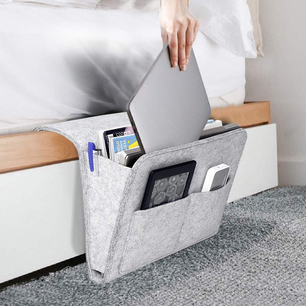 Felt Bedside Caddy Anti-Slip Hanging Storage Bed Rails Dorms Bunk Beds Book Remote Organiser