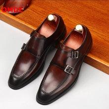 OMDE Fashion Genuine Leather Loafers Monk Strap Men Formal Shoes Designer Brand Buckles Business Office Wedding