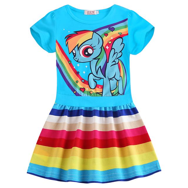 New Summer Little Pony Wear Children Girls Christmas Rainbow Dash Costume Casual Dress Baby Pony Dress Baby Girl Home Wear 7Year