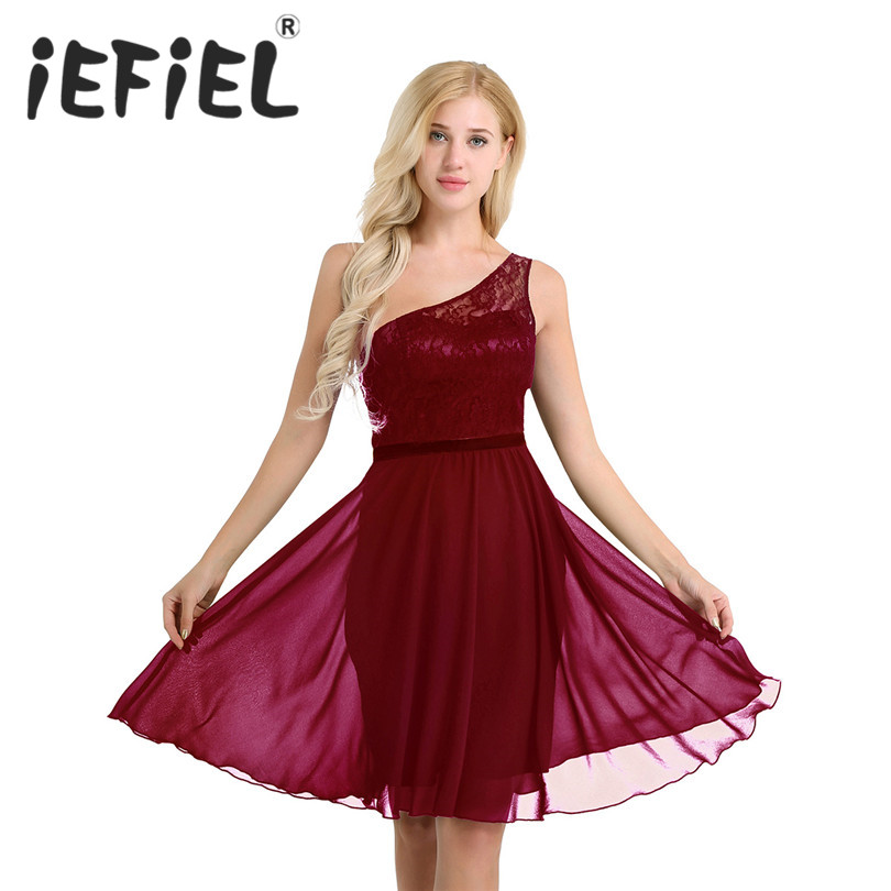 iEFiEL Elegant Women Ladies Sleeveless One Shoulder Embroidered Lace Layer Chiffon Wedding Bridesmaid Formal Occasion Dresses