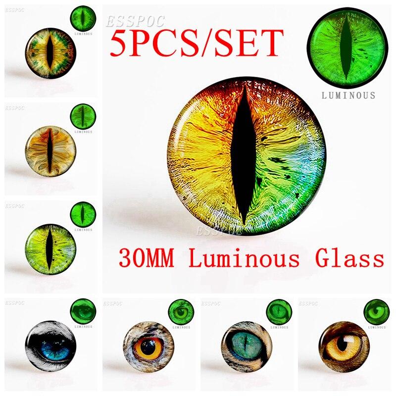 5PCS/SET Fashion Dragon Eyes 30MM Luminous Glass Dome Cabochon Charm Men Women Handmade Making Jewelry Accessories Gifts