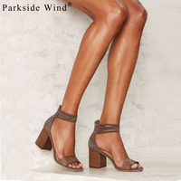 Parkside Wind Women Pumps Narrow Band Zip High Heels Sandals Square Heel Summer Fashion Ladies Shoes XWC1313 5