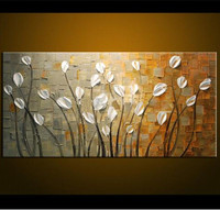 Large Hand painted Knife Trees Oil Painting On Canvas Palette Golden Yellow Paintings Modern Abstract Wall Art Pictures as Gifts