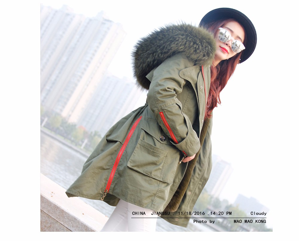 Winter Coats Women Jackets Real Large Raccoon Fur Collar Thick Ladies Down & Parkas army green