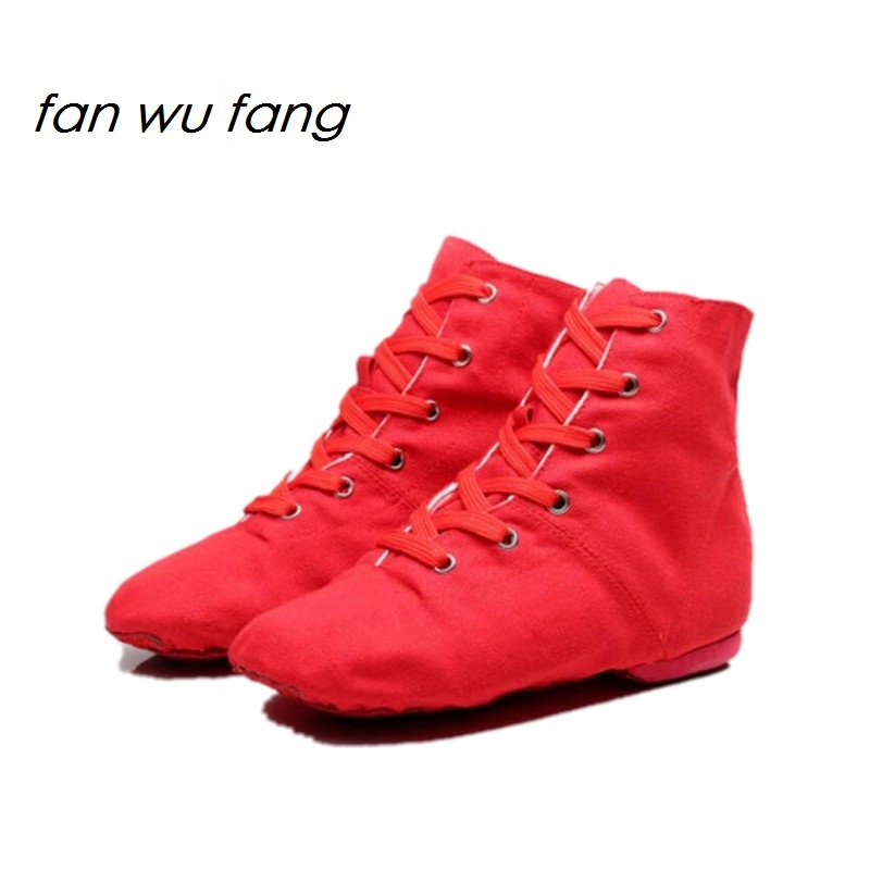 fan wu fang 2017 New Arrival Red Canvas Sports Dancing Sneakers Jazz Dance Shoes Lace-Up Soft Sole High-top Men Women Childrenfan wu fang 2017 New Arrival Red Canvas Sports Dancing Sneakers Jazz Dance Shoes Lace-Up Soft Sole High-top Men Women Children