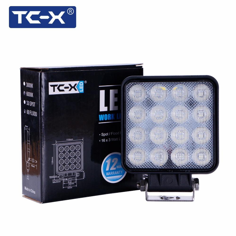 TC-X LED 48W Work Light Square LED Flood Light Bar 4x4 Offroad Truck Trator SUV DC 12 24V Lampe dropshipping vip LED Work Lamps
