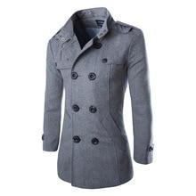Новая мода slim fit мужчины шерстяное пальто и пиджаки шинель мужчины зимние куртки двубортный пальто бесплатная доставка 2 цвета M-3XL