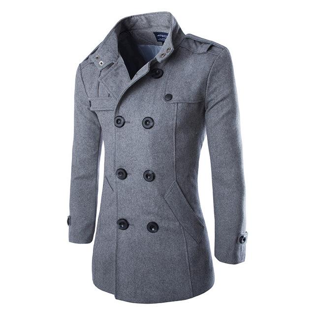 Nova moda slim fit homens homens casacos de inverno casacos trespassado sobretudo de lã casaco outwear frete grátis 2 cores M-3XL