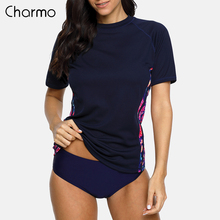 Charmo Для женщин короткий рукав Гидромайки футболка с цветочным принтом, спортивный топ, купальный костюм с защитой от ультрафиолета 50 +, защита от ультрафиолета, серфинг Топ Футболка для бега Быстросохнущий купальный костюм