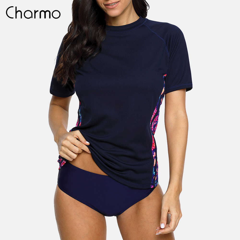 78c29fa5d5 Charmo Women Short Sleeve Rash Guards Shirt Floral Print Rashguard UPF 50+  Surfing Top Running