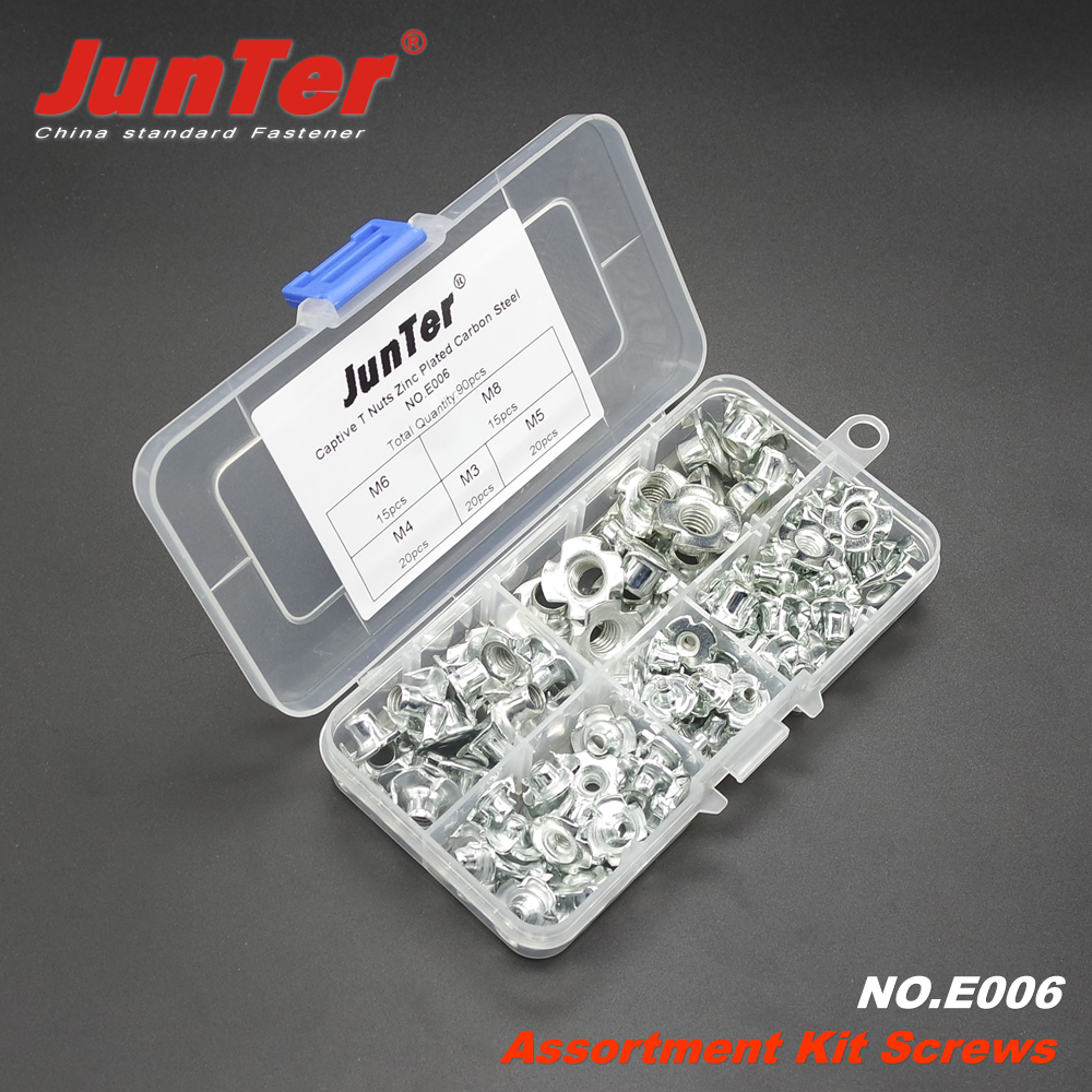 90pcs M3 M4 M5 M6 M8 Captive T Nuts Pronged Tee Nuts Blind Nuts Zinc Plated Carbon Steel Metric Assortment Kit NO.E006
