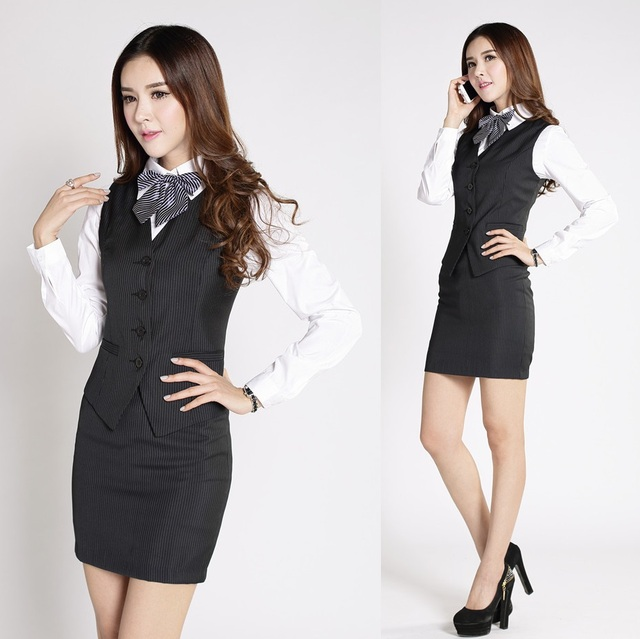 Formal Women Work Wear Suits With Skirt And Top Sets Fashion
