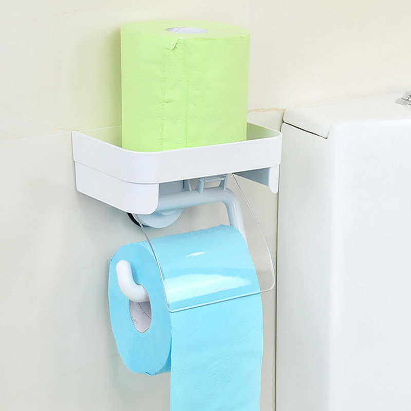 Dehub Suction Cup  Bathroom Shelf Accessories With Paper Holder Wall Mounted Type Plastic