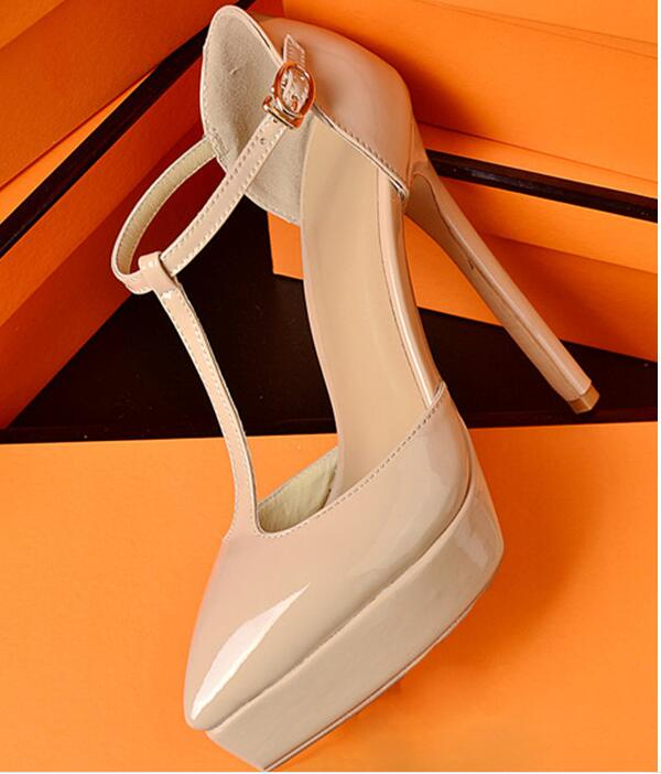 2017 new fashion t-strap high heel shoes nude patent leather woman pumps sexy pointed toe platform shoes cutouts party heels