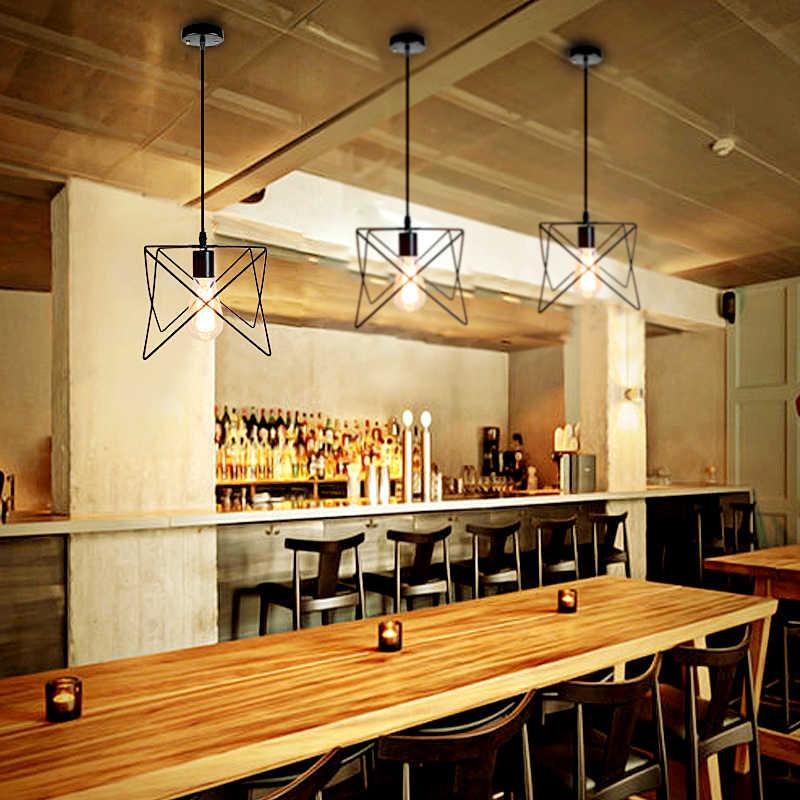 Винтажный подвесной светильник современный подвесной светильник черный железный подвесная клетка промышленный Лофт скандинавский подвесной светильник для гостиной Hanglamp
