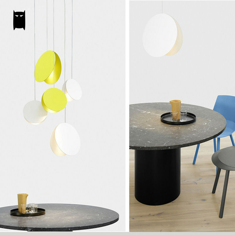 Yellow White Coffee Flying Disk Pendant Light Fixture Modern Art Deco Nordic Hanging Lamp Luminaria Design Dining Table Room Bar - 4