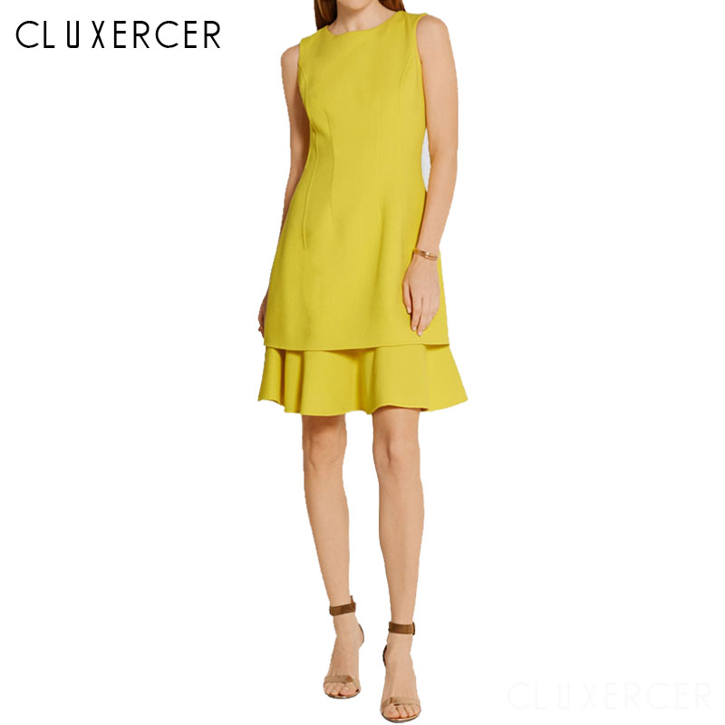 Yellow Dress Women Sleeveless Ruffle Sweet Party Dress Summer 2019 Double Layer Elegant Office Bodycon Midi Dress Vestidos