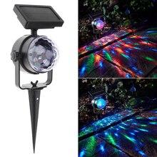 مصباح كريستالي دوار يعمل بالطاقة الشمسية RGB مصباح ليلي للحفلات للكريسماس مصباح ضوئي ليزر للحدائق في الحديقة