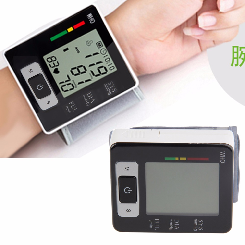 New Automatic Wrist Blood Pressure Upper Monitor Digital Heart Beat Meter LCD Screen Tonometer Sphygmomanometers pulsometer voice version digital lcd upper arm blood pressure monitor heart beat meter machine spygmomanometer portable home type free ship