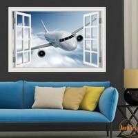 3d Landscape Wallpaper Airplane Wall Sticker Decal Vinyl Wall Art Mural Large Window View Blue Sky